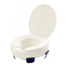 Toilet seat raiser with quick fit brackets and lid